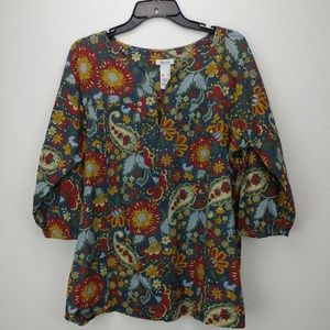 🎰 2/$20 Liz and Co floral peasant top